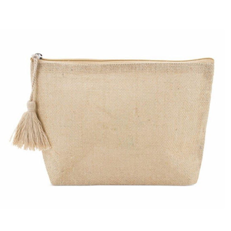 Standard Features Organic Cotton Pouch Lined With Recycled Jute Cosmetic Bag with Tassel
