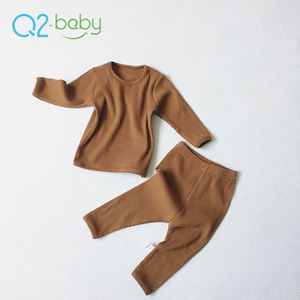 Q2-baby Newborn Solid Color Cotton Long Sleeve Home Service Suit Baby Infant Clothing Sets