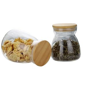 1000ml Clear Glass Storage Jars with Wood Lids Wooden Lid Glass Canisters