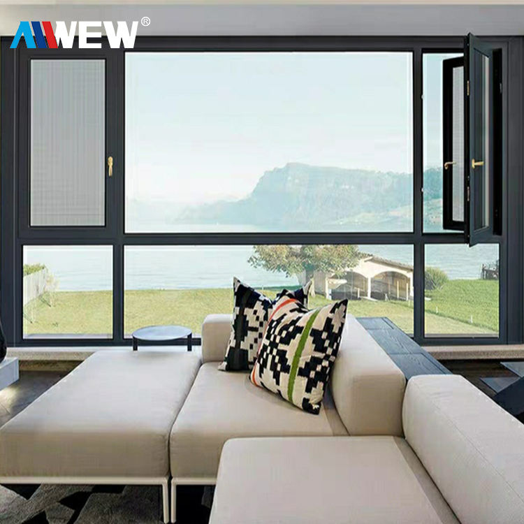 Alwew Most Popular China Factory Price Upvc House Doors Windows 3 Panel Triple PVC Casement Window