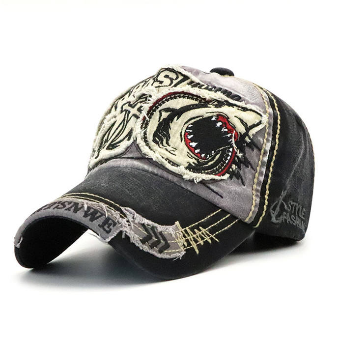 Personality Trendy Embroidered Shark Letter Baseball Flat Sun Hunting Headgear