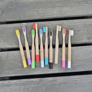 Round Handle Colored Soft Hair Child Bamboo Toothbrush 10 Sticks