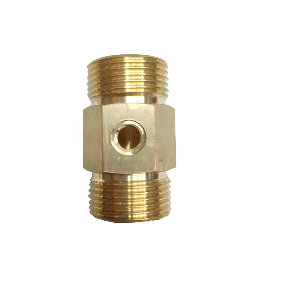 "Solid Brass Pipe Fitting with M8 hole Hex Nipple 3/4"" x 3/4"" NPT Male Pipe Adapter"