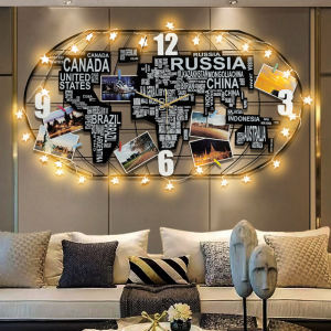 Luxurious Metal Wooden For Home Decoration Large World Map Wall Clocks With Led Light