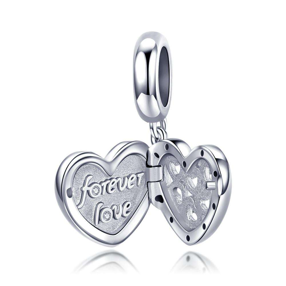 Forever Love Open Heart Beads 925 Sterling Silver Lamp Work Heartbeat Surprise Pendant Fit for Bracelet Necklace Choker