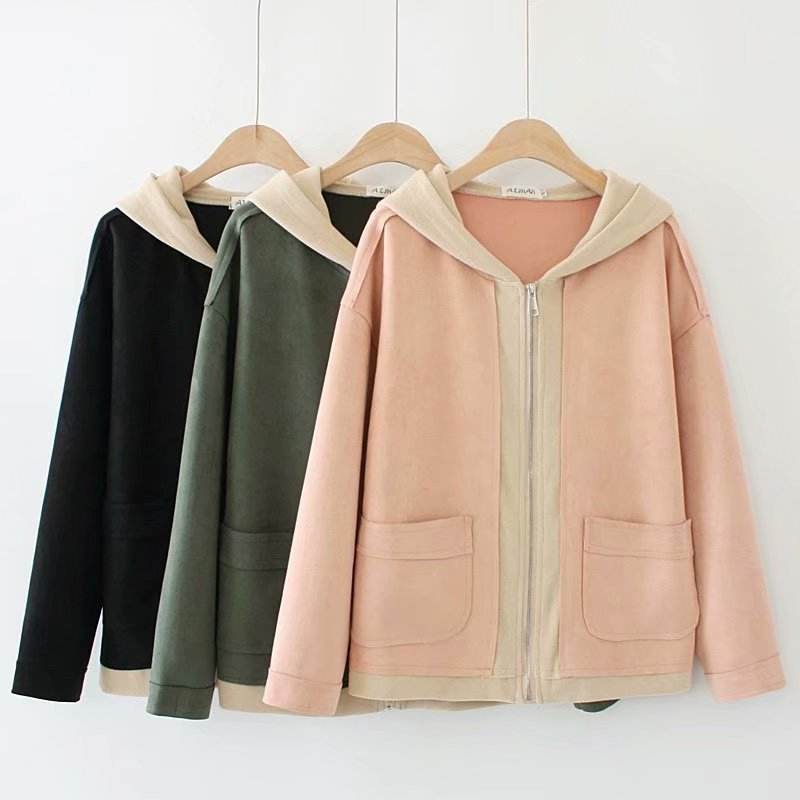 Spring and autumn Korean style fresh three-color solid faux suede jacket women winter coat
