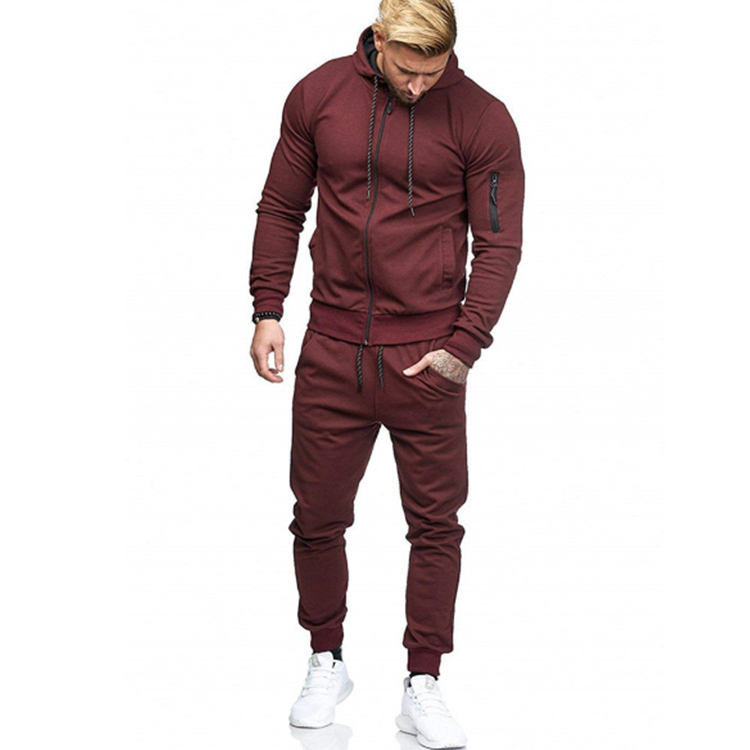 Wholesale hot selling custom logo fashion tracksuit hoodie sweatshirt suits sport jacket men's sports suit