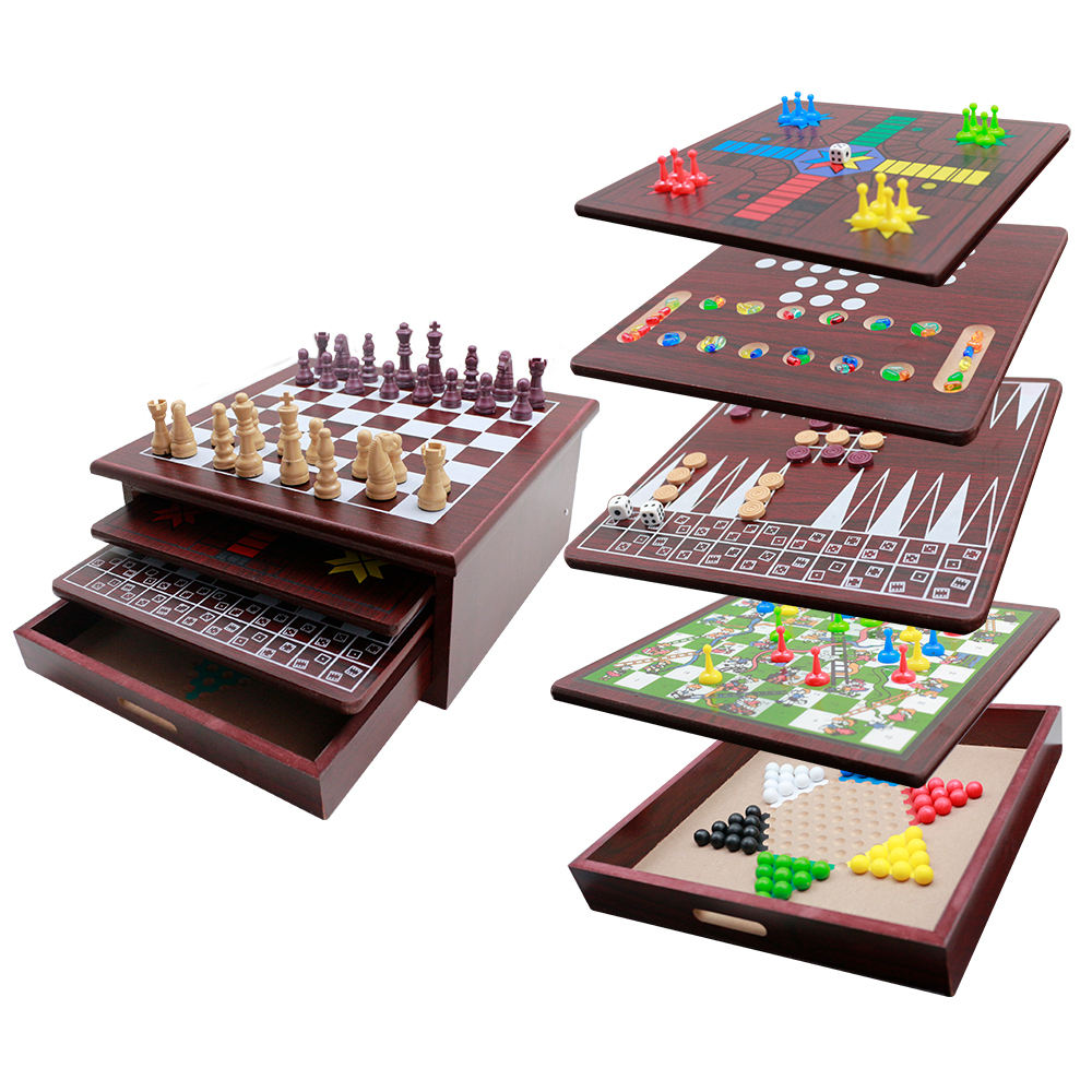 Nieuw Design Multifunctionele Houten 15 In 1 Of 10 In 1 Games Set-Schaken/Backgammon/ludo/Checker/Sanke Ladder/Mancala
