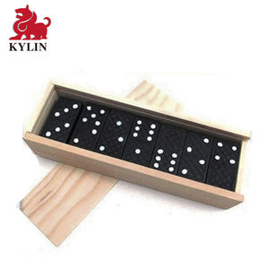 Wooden Dominoes 28-Piece Set   Box - Black Color Wood   White Numbers  Kids Adults Board Games