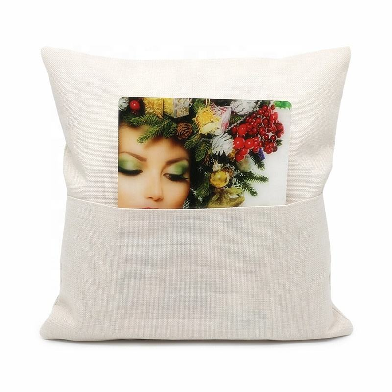 Hot sale Linen Custom sublimation blank cream white pillow case pocket cushion cover
