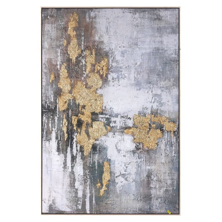 Home Decoration Abstract Art Canvas 3D Printed Oil Painting Gold Leaf Surface Art Frame