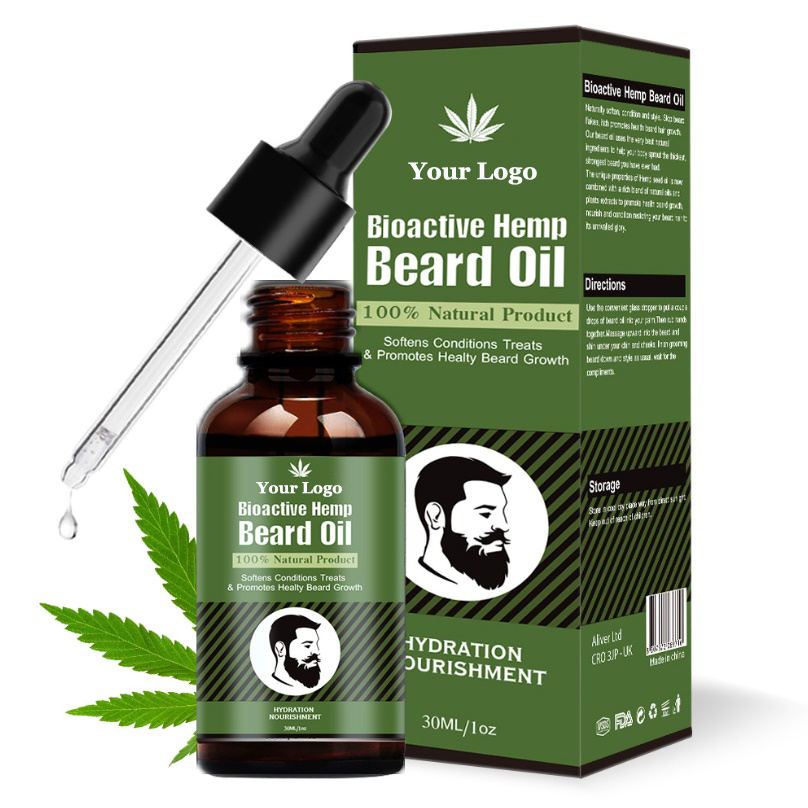 100% natrual CBD hemp leaf beard oil hot sale bear growth oil for Men
