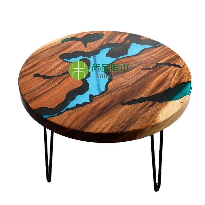 Custom Luxury river dining table american solid walnut epoxy resin dining table