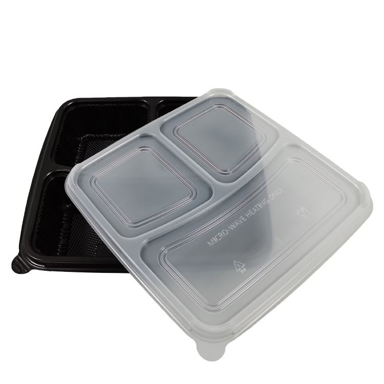 bulk black cheap microwave disposable 3compartment plastic food containers lunch box