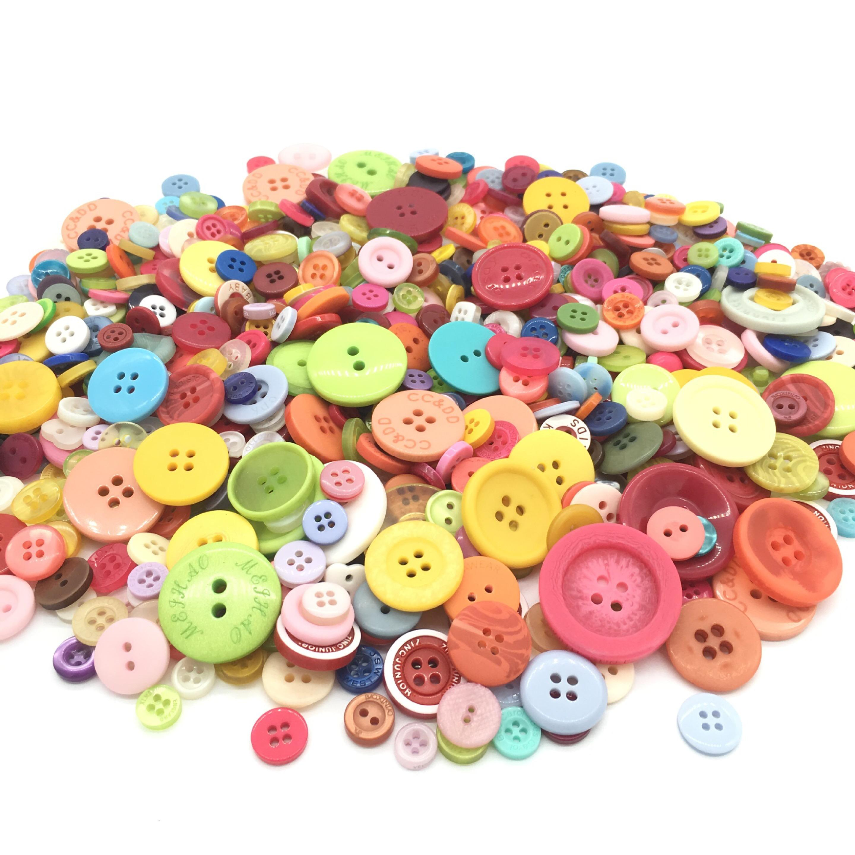 Wholesale Mixed color Multi Sizes 1-3cm DIY 4-Holes Resin Buttons Scrapbooking Apparel Decorative DIY Sewing Handmade Button