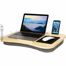 Extra Large Size Bamboo Laptop Lapdesk with Cushion and Handle