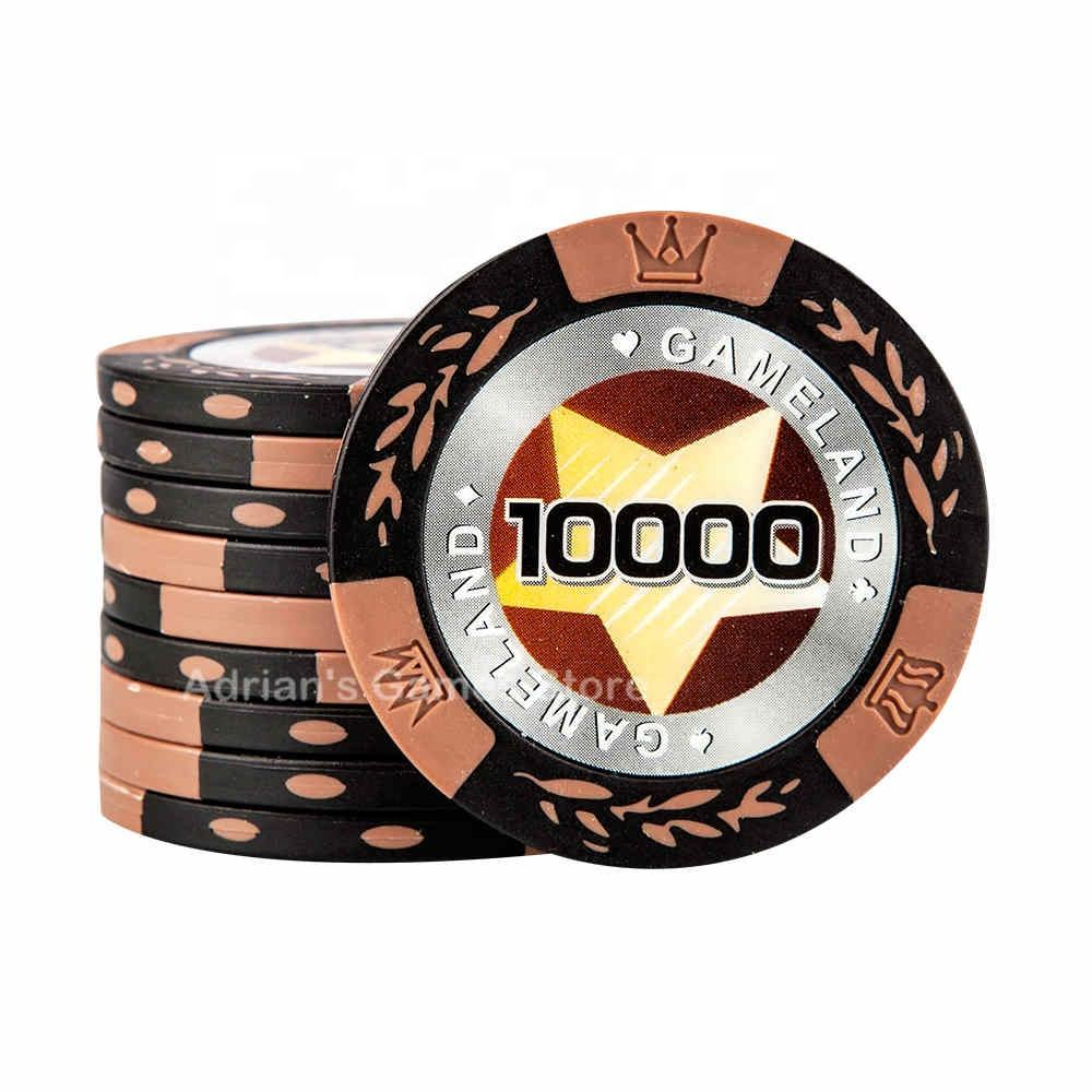 Poker Chips Classic Wheat Clay PockeChips 40*3.3mm 14g With Metal Core Casino Game Token