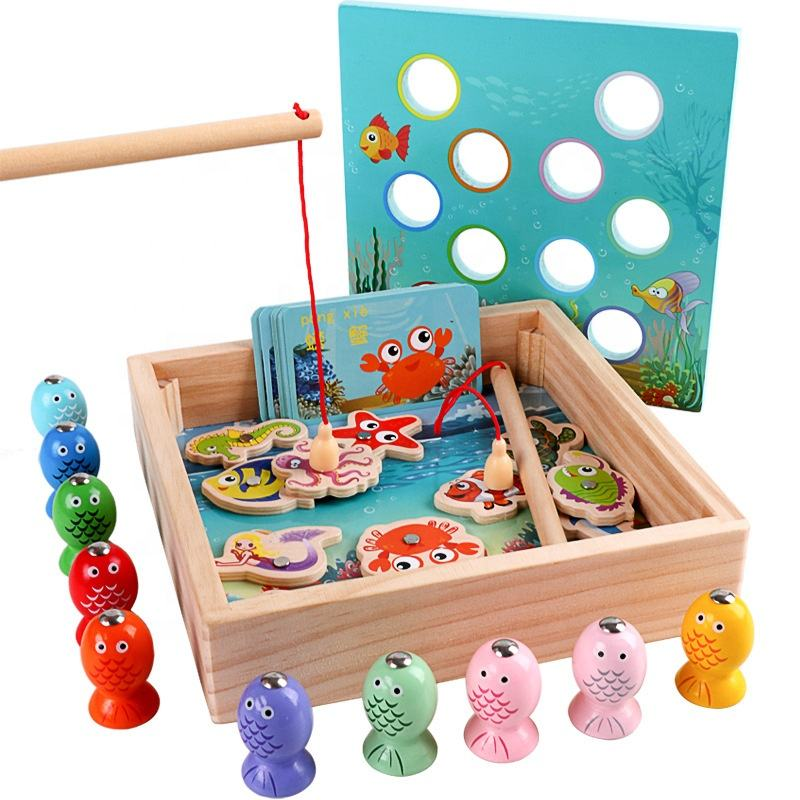 Kids Wooden Magnetic beaded Fishing Games Toy 3D Fish Baby Educational Toys Outdoor Boys Girl Gifts