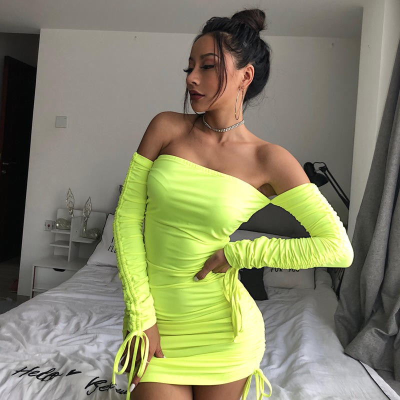 Brand new long sleeve off shoulder club mini clothes dresses sexy dress with great price