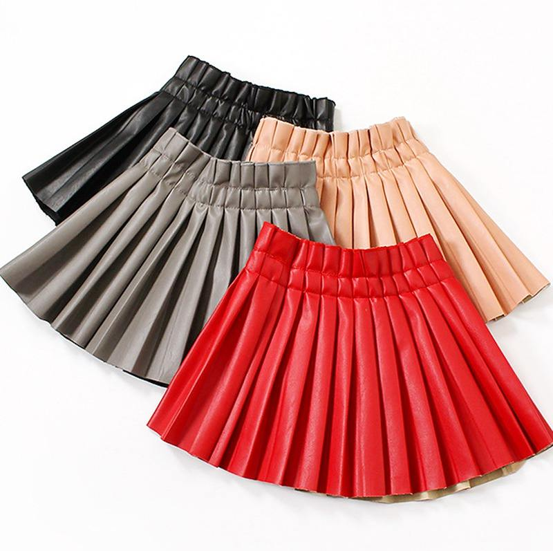 3-10years Baby Girls PU Leather Pleated Skirt Baby Girl Elastic Waist Short Solid Skirts pleated skirt