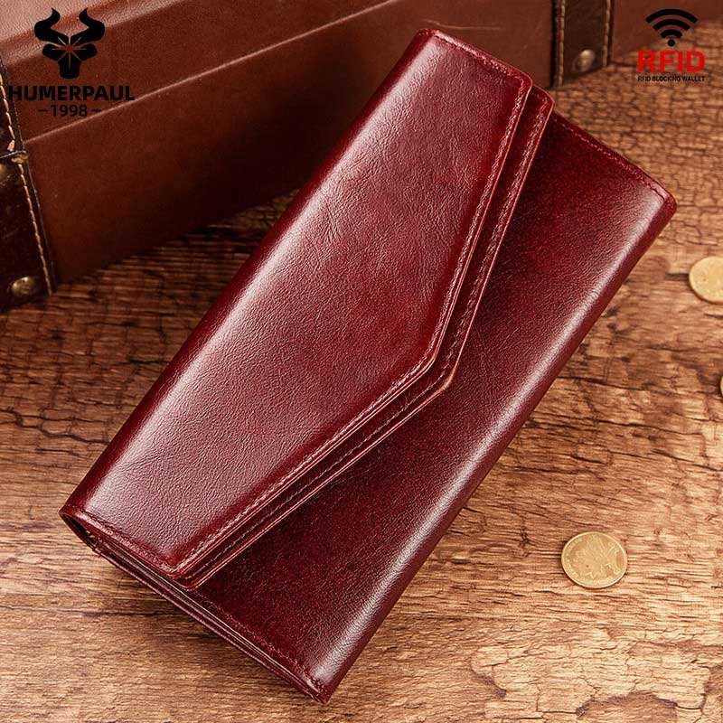 HUMERPAUL Fashion Long Women's Purse Coin Clutch Genuine Leather Coin Purse Card Holder RFID Luxury Wallets Purse For Women