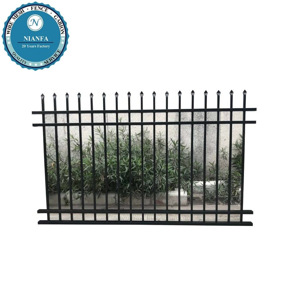 security metal fence wrought iron grill gate design/ powder coated galvanized iron fencing/ decoration garden house fence