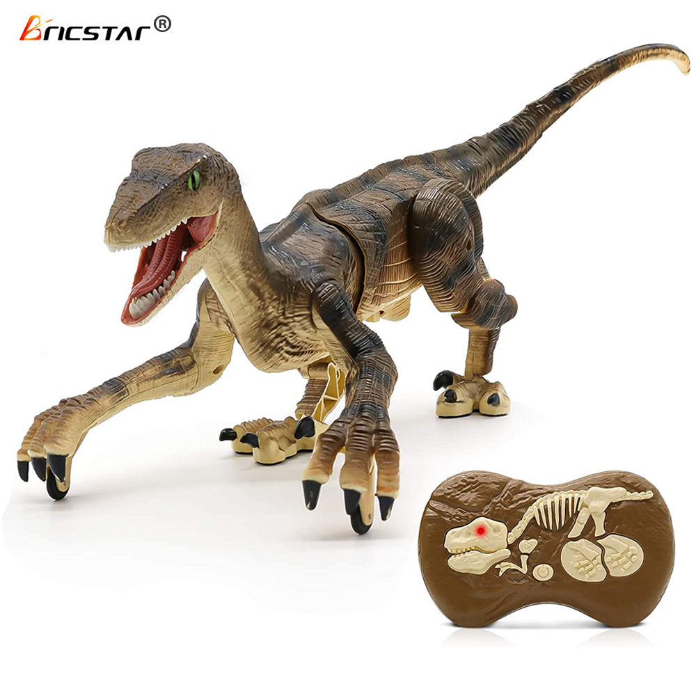 Bricstar new style 2.4G simulation walking B/O remote control dinosaur toys, rc dinosaur toys with simulation 3D eyes