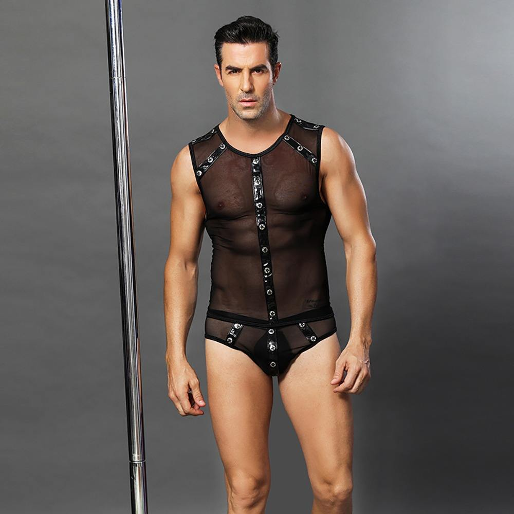 Sexy Black Men's Faux Leather Transparent Bodysuit Sexy Men Sexy Lingerie Set underpants Short Sleeves beauty love Underwear