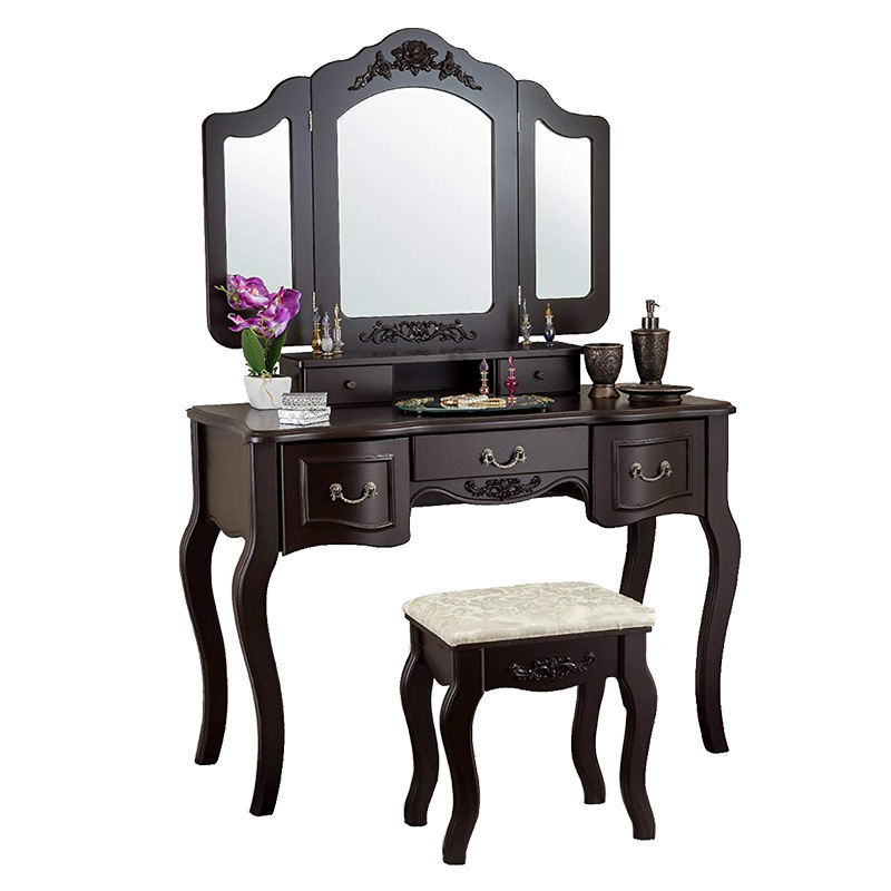 Cheap Wholesale USA Style Brown Tri-folding Mirror MDF Vanity Set With Stool