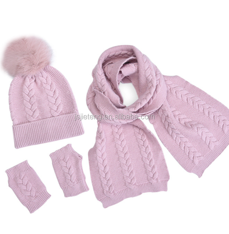 Pompom Style Knitting Beanie Hat Scarf Gloves 3pcs Winter Set For Kids