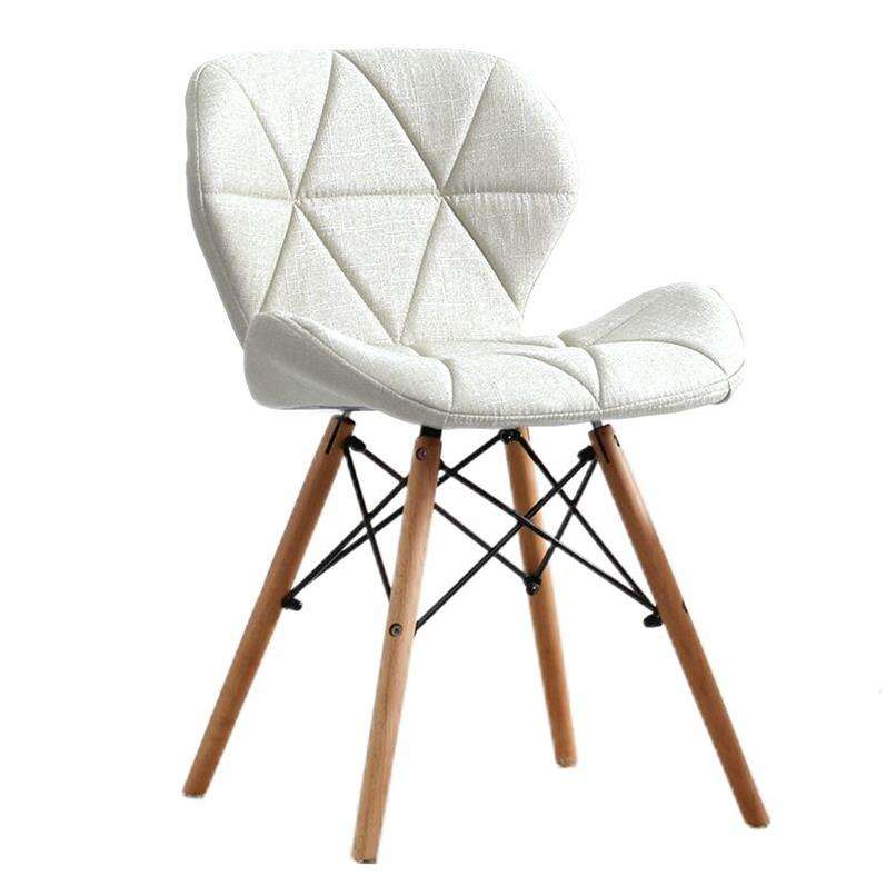High quality dinning chair fabric upholstery patchwork cheap nordic home dining chairs wooden leg Butterfly chair