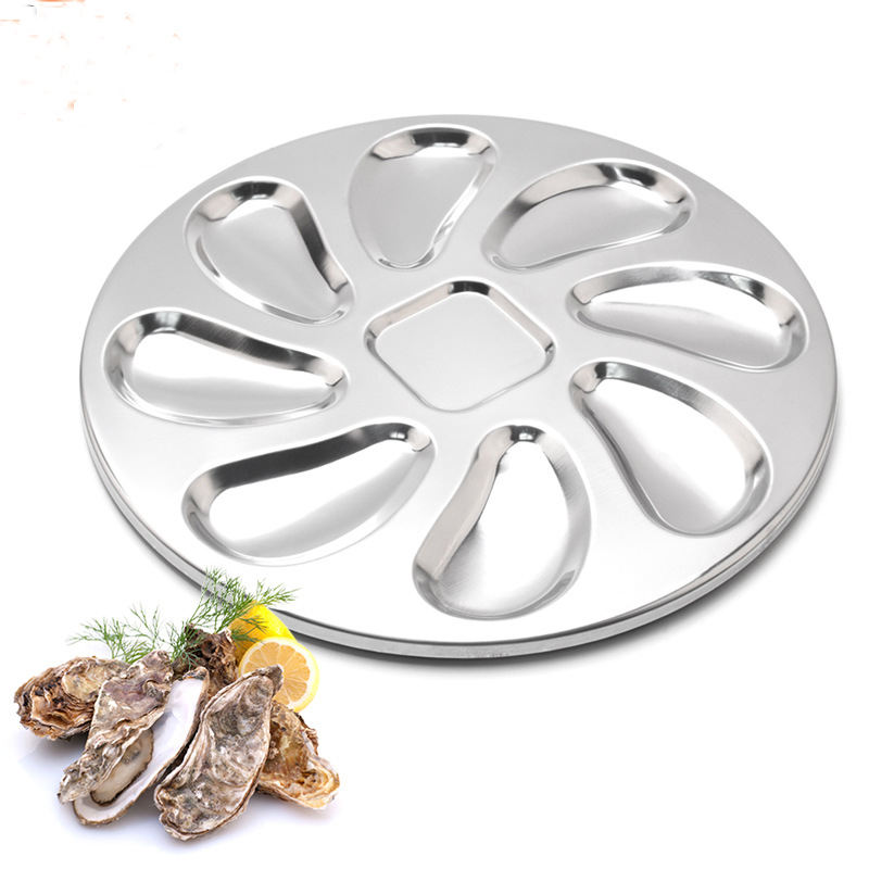9pcs stainless steel oyster plate set
