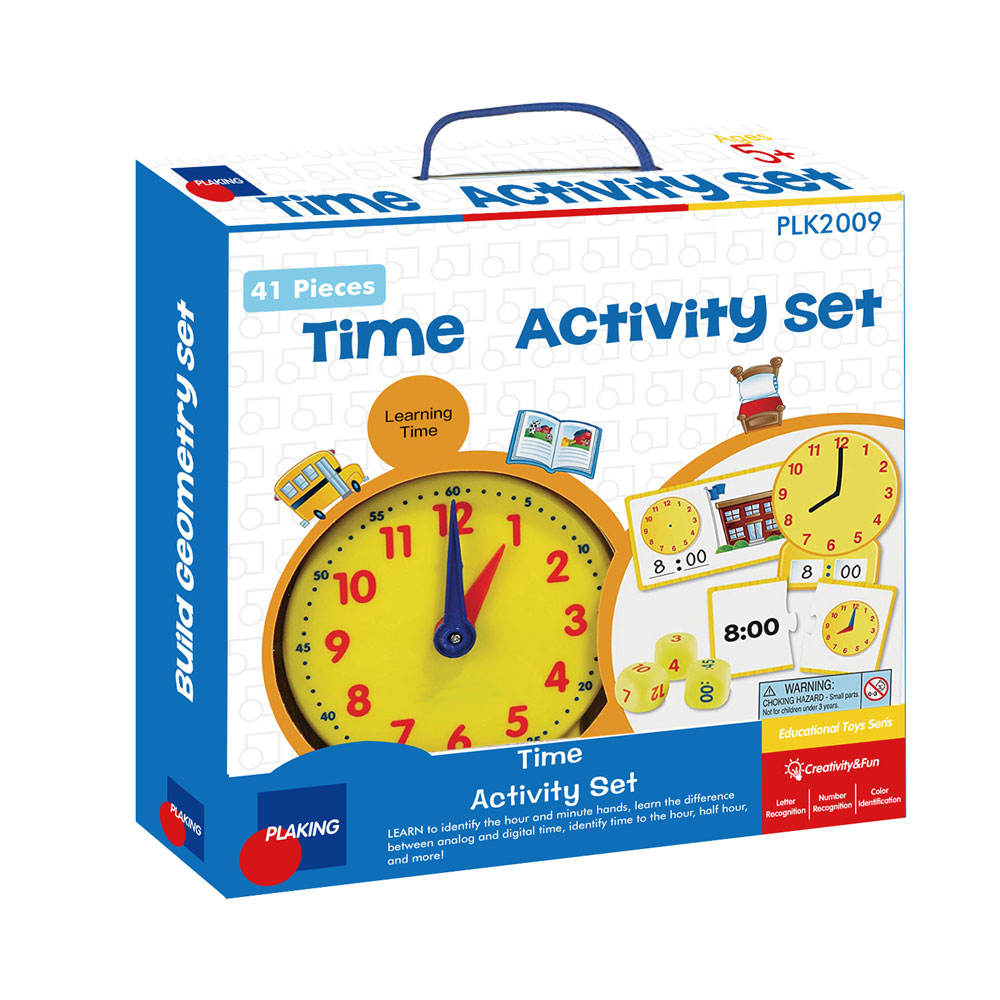 Time Activity Set, Early Educational Kit, Homeschool, Analog Clock, Tactile Learning, 41 Pieces, Ages 5+