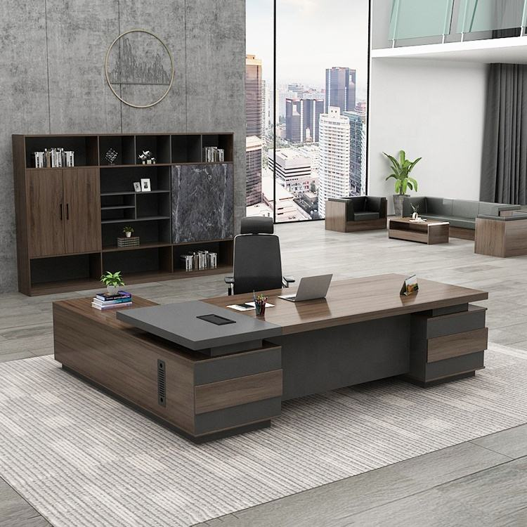 Luxury Executive Desk CEO Manager Workstation Table Office Furniture Executive L Shaped Desk With 50mm Thick Desktop