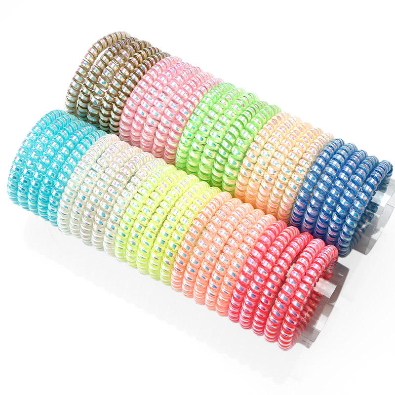 Professional Wholesale Skinny Shiny AB Color Metal Coil Hair Elastic Band
