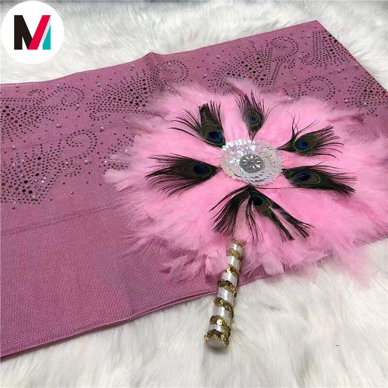 Mikemaycall 2020 Ready-to-Wear beaded stones Gele aso oke with feather fans best price made in China FFS188