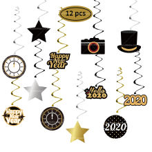 Easternhope Amazon hot sales 2020 New Year Hanging Swirl Ornaments Glitter Spiral Hanging Pendent Party Decoration