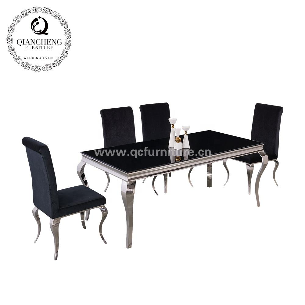 Malaysia stainless steel 150cm marble dining table set modern