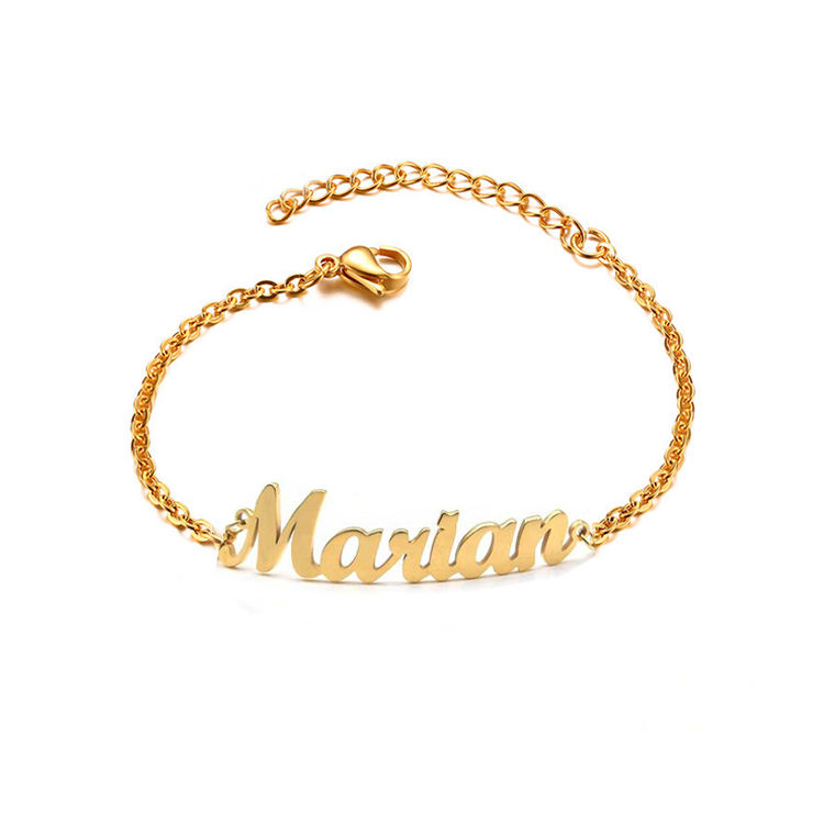2019 New Arrivals 18K Gold Plated Stainless Steel Personalized Name Ankle Bracelet