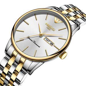 NIBOSI 2332 Mens Watches Top Brand Luxury Business Quartz Gold Watch Full Steel Fashion Waterproof Sport Clock Relogio Masculino