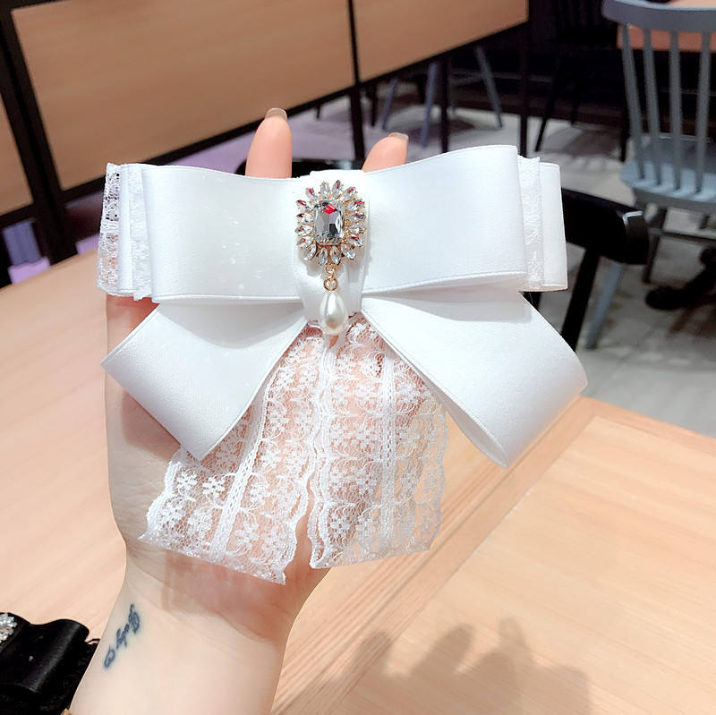 13.5*15.5 unisex big large Korean white black luxury crystal necktie women silk fabric lace bow tie lady collar flower brooch