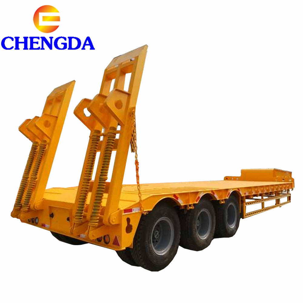 Low Price Factory Heavy Duty 3 Axles Lowboy Trailer 60 80 100 Tons Lowbed Low Bed Truck Semi Trailer