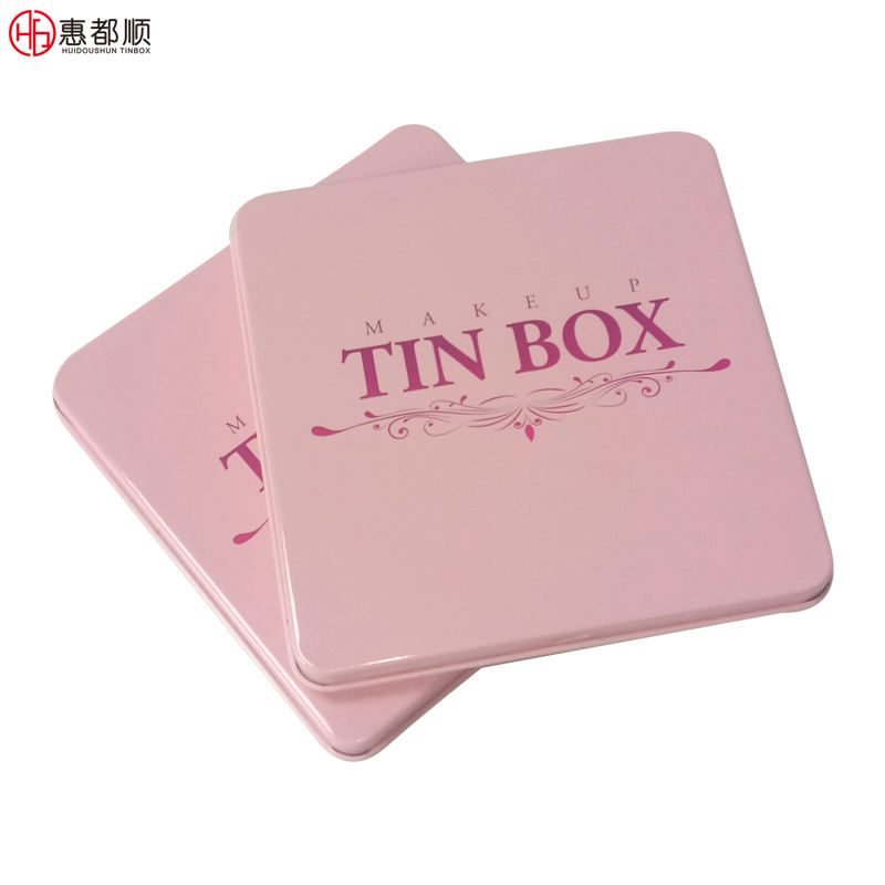 Wholesale custom square metal gift tin packaging boxes with hinged