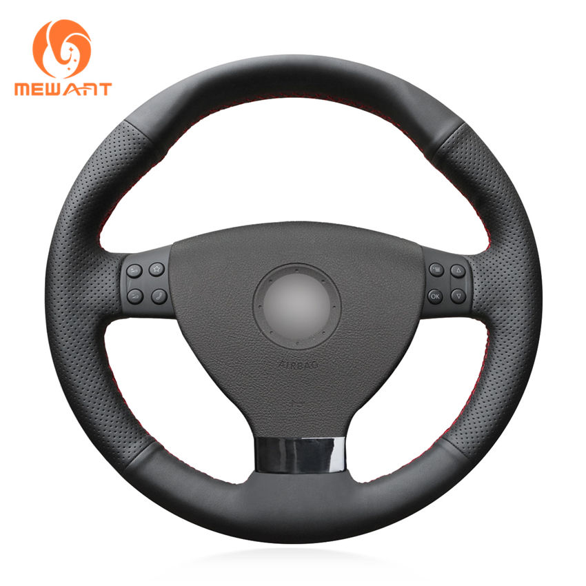 Custom Hand Stitched Black Artificial Leather Steering Wheel Cover for Volkswagen VW EOS MK5 2005 2006 2008