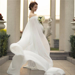 Sexy Chiffon Maternity Skirt Bare Shoulder Maternity Dress Photographing White Lace Pregnant Clothes Photography Long Dress