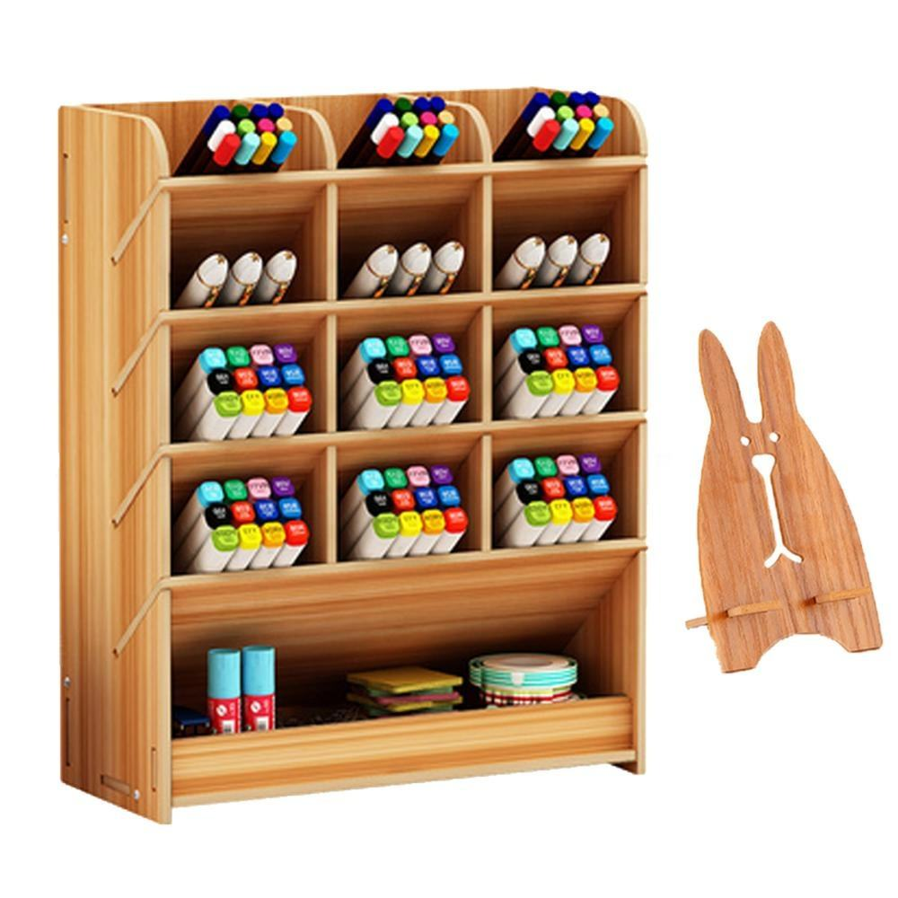 High Quality OfficeSet DIY Multi-Functional Wood Pen Holder Desk Organizer With Free Phone Holder