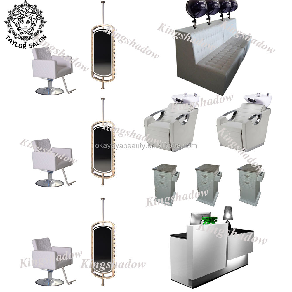 Wholesale barber equipment tools mirror station hair styling chair beauty salon furniture package