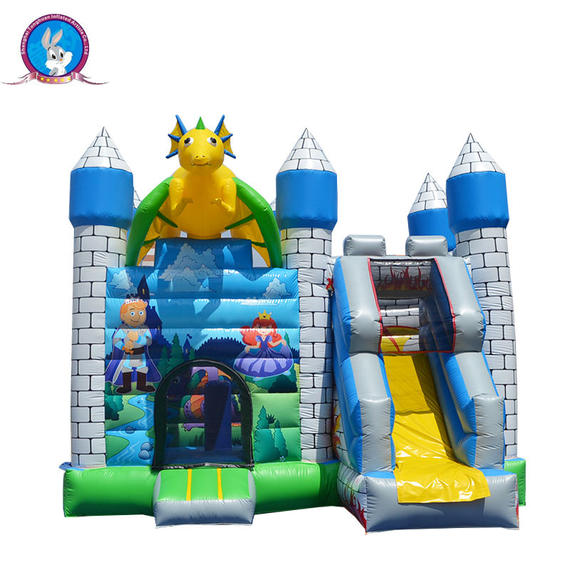 Inflatable air pump adult bouncy castle with slide for sale