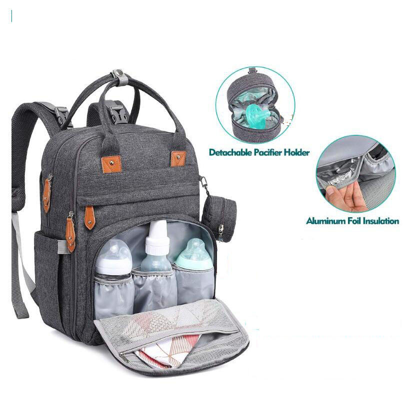 Verified supplier Free packing customized Waterproof Dark Grey Baby Mummy Nappy Diaper Bag With Food Grade Pacifier Case