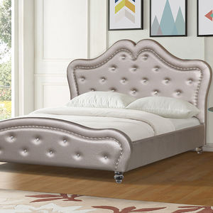 Modern Queen Brown Luxury King Size High Headboard Leather Bed